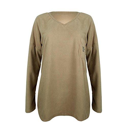 Egmy Femmes Reconnaissants Manches Longues Tops Dames Tee Shirt Blouse Kaki