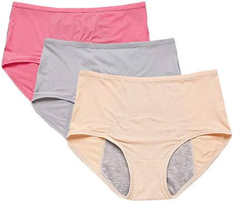 Leak Proof Menstrual Period Panties 3Pcs Women Underwear Breathable Mesh Physiological Pants High Waist Briefs Large Size,XXXL