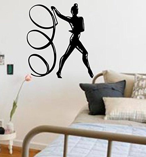 N.SunForest Girls Room Colorguard Flag Twirl Dance Silhouette Vinyl Wall Graphics Art ()