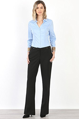 Maryclan Career Women's Dress Pants Little Boot Cut With Double Button Tab Detail (Large, Black) by Maryclan (Image #1)