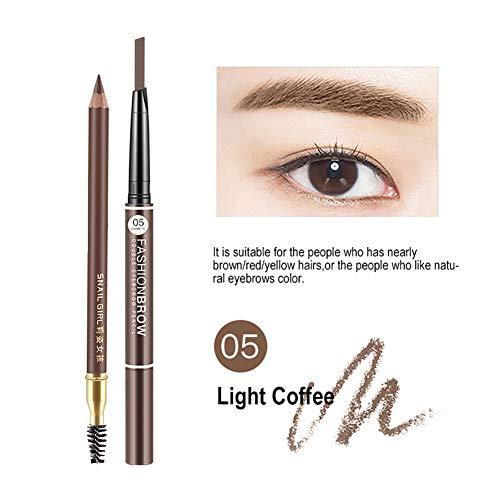 3D Waterproof Eyebrow Pencil, Waterproof Sweat-proof Smudge-proof Long Lasting Eyebrow Pencil Brow with Brush for Girls 2PACK (5# Light coffee)
