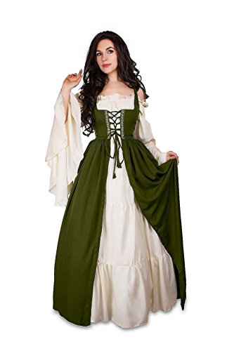 Mythic Renaissance Medieval Irish Costume Over Dress & Cream Chemise Set (S/M, Olive)]()