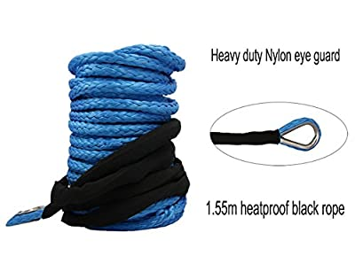 "Synthetic Winch Rope - 1/4"" x 48' Winch Cable Blue Winch Rope 7000+ LBs with Sheath for atvs Winches ATV UTV SUV Truck Boat Ramsey Synthetic Winch Rope"