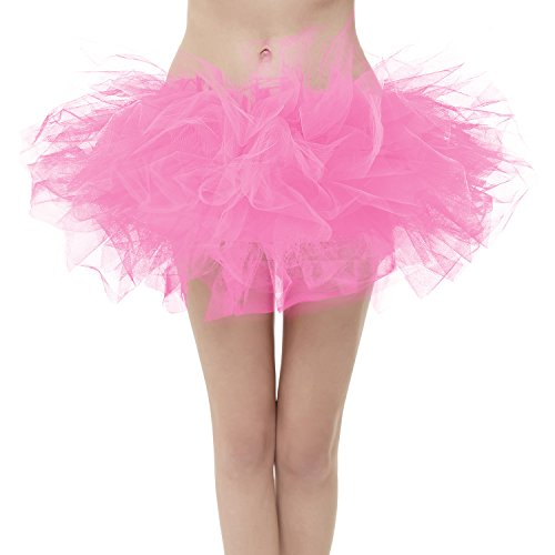 Girstunm Women's Classic Layers Fluffy Costume Tulle Bubble Skirt Pink-Plus Size -