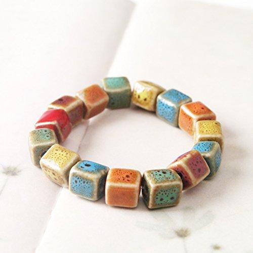 Gambulin Colorful Ceramic Cube Stretch Bracelet 7