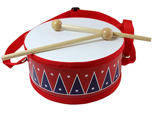 Drum Toy for Kids – Small but Voiced Drum for Children – 2 wooden Mallets – Drum with Strap, 6 in