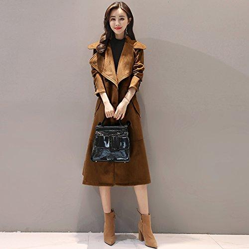 SCOATWWH Long Jacket Coffee Coats Deep Color Windbreaker nbsp;Female Women'S amp; Jackets Female Long rtwXwBq
