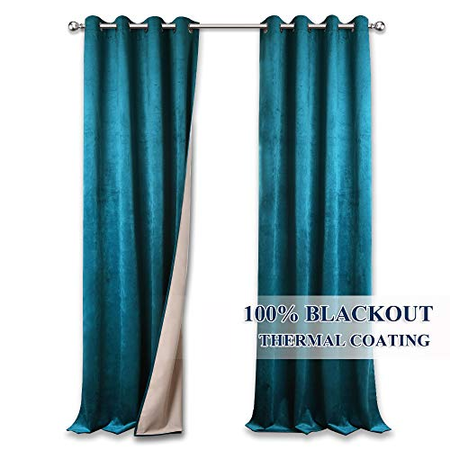 StangH Total Blackout Patio Door Curtain Blinds, Thermal Insulated Velvet Drapes with Coating, Soundproof Privacy Window Treatment Set for Cottage/Loft, Wide 52