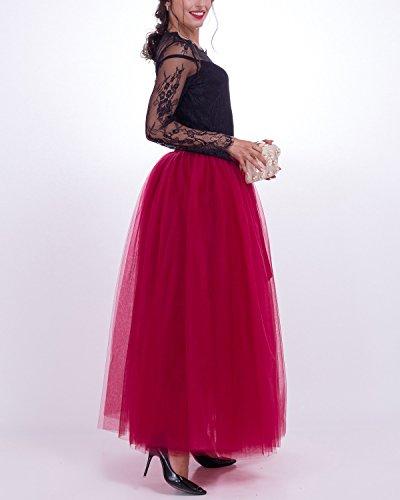 Rose Rtro Poudr Tulle Femme Petticoat Vintage Robe 7 Jupon Couches Jupe Comall sous en 100cm Tutu Bq464P
