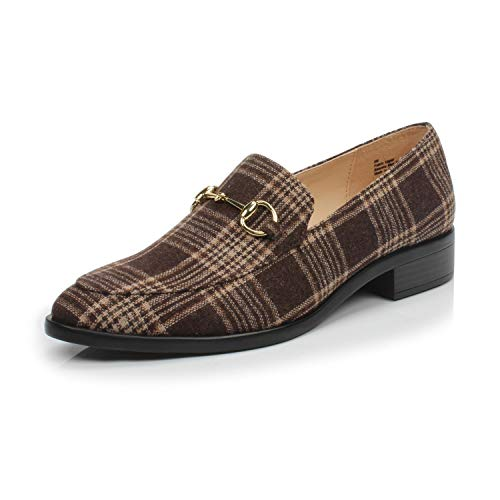 (DUNION Women's BRINE Comfortable Slip on Chain Decorated Penny Loafers Low Heels Almond Toe Casual Daily Shoe, Coffee Plaid,8 B(M) US)