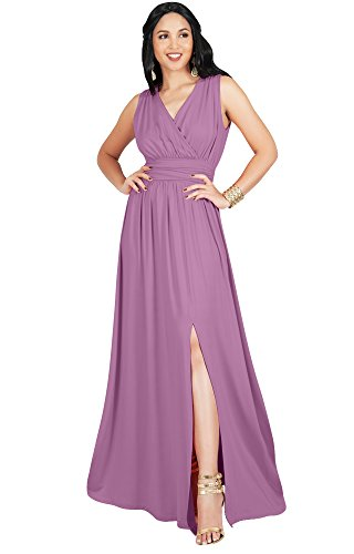 KOH KOH Petite Womens Long Bridesmaid Wedding Guest Cocktail Party Sexy Sleeveless Summer V-Neck Evening Slit Split Day Full Floor Length Gown Gowns Maxi Dress Dresses, Dusty Pink S 4-6