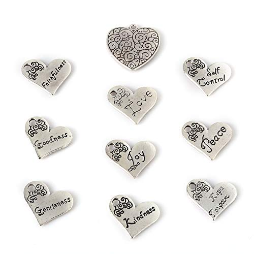 SMALL-CHIPINC - 44pcs 10 mix of ancient silver classic luxury romantic heart of the spirit of loyal pendant ladies jewelry by SMALL★CHIPINC (Image #1)