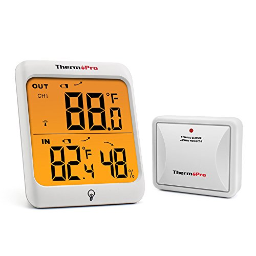 ThermoPro  TP63 Digital Wireless Hygrometer Indoor Outdoor Thermometer Wireless Temperature  and  Humidity Monitor with Cold-  resistant and Waterproof Humidity Gauge, 200ft / 60m Range
