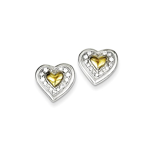 Sterling Silver & Vermeil CZ Heart Post Earrings