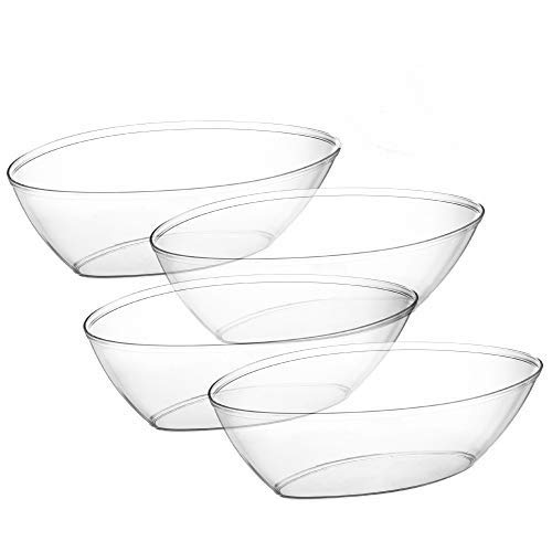 Embellish Oval Plastic Serving Bowls 64 Ounce Contured Party, Salad, Snack, Disposable Crystal Clear Oval Bowl Pack of 4