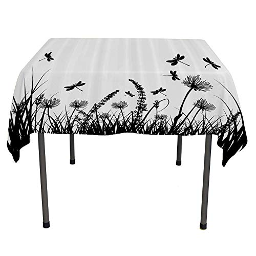 Nature Dinning Tabletop Decoration Grass Bush Meadow Silhouette with Dragonflies Flying Spring Garden Plants Display Black White Coloring Table Cloths Spring/Summer/Party/Picnic 36 by 36