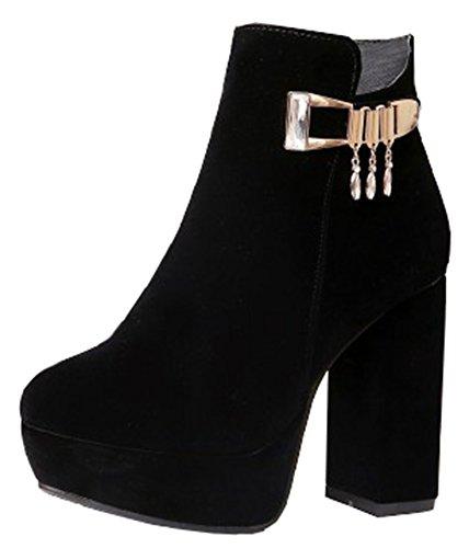 IDIFU Womens Elegant Pendant High Chunky Heels Platform Ankle Boots Side Zip Up Short Booties Black eLrXZV