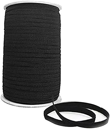 Trimming Shop Black Elastic Cord for Making Waistbands Ribbons Fabric Crafts Elasticated and Stretchy 7mm Wide Straps 25m Long DIY Projects Bracelets Lingerie