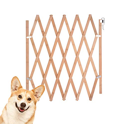 Urijk Expandable Accordian Dog Gate, Wooden Accordion Expansion Gate for Doorway Stairs, Folding Gate Safety Protection for Small Medium Pet Dog, 10
