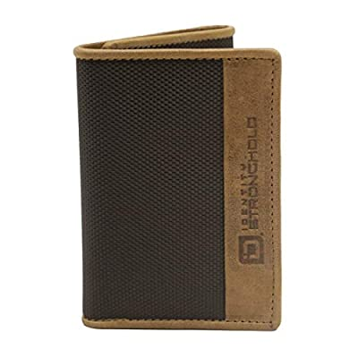 ID Stronghold Thin RFID Blocking Mens Trifold Wallet - Slim Leather and Nylon