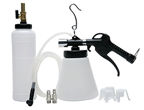 8milelake Pneumatic Brake Fluid Bleeder Tool with 4 Master Cylinder Adapters 90-120 PSI - One Man Brake Bleeder Kit