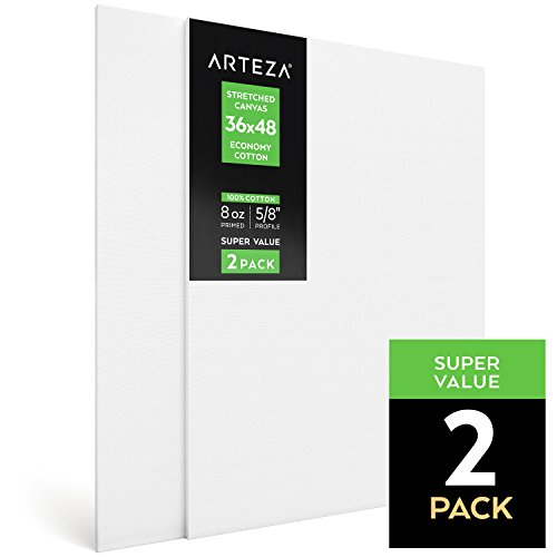 Arteza Blank Pre Stretched Canvas for Painting, 36X48, Pack of 2, Primed, 100% Cotton, For Acrylic Paint, Oil Paint, Other Wet or Dry Art Media, For the Professional Artist, Hobby - Large Canvas Stretched