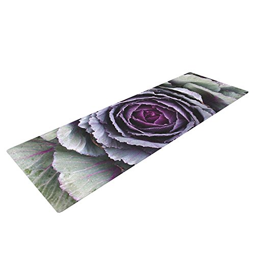 KESS InHouse Susan Sanders Flower Love Exercise Yoga Mat, Purple Green, 72