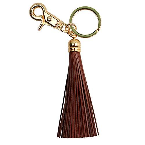 Women Leather Tassel Keychain Ring Charm Handbag Wallet Genuine 12 Colors (Brown)