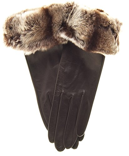 Fratelli Orsini Women's Orylag Rabbit Fur Cuff Cashmere Lined Leather Gloves Size 8 Color Brown