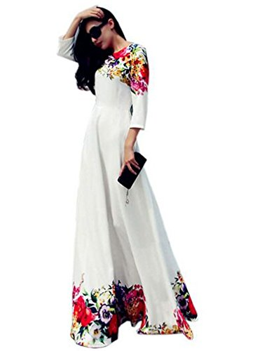OURS Women's Round Neck 3/4 Sleeve High Waist Flower Print A-Line Maxi Long Dress, White, Small