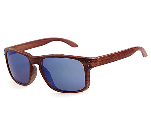 Heartisan Vintage Imitation Wood Frame UV400 Flash Mirror Sunglasses - Sunglasses Yoko