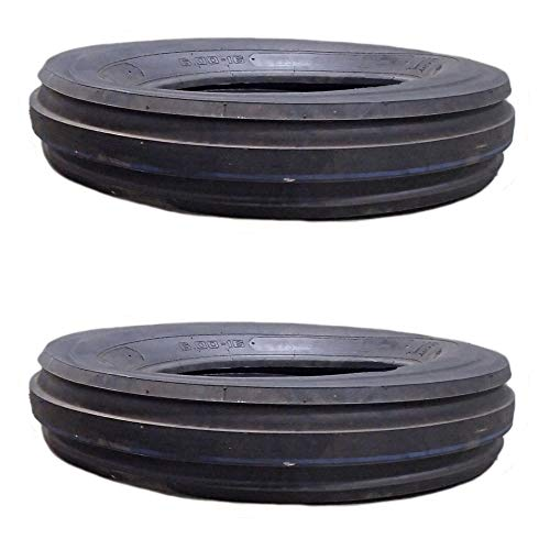 (2) Front Tractor Tires 3-Rib 6.00-16 12 Ply Rated for Ford Deere Massey Case IH ()