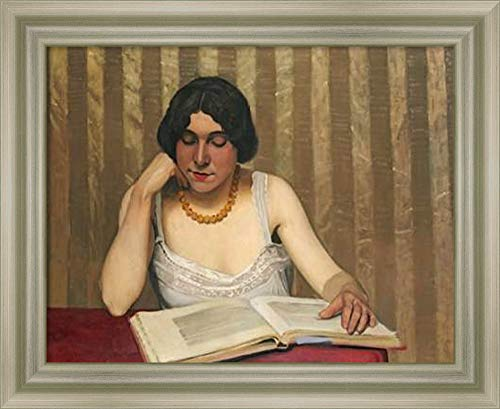 Framed Canvas Wall Art Print | Home Wall Decor Canvas Art | Reader with a Yellow Necklace by Felix Vallotton | Modern Decor | Stretched Canvas Prints
