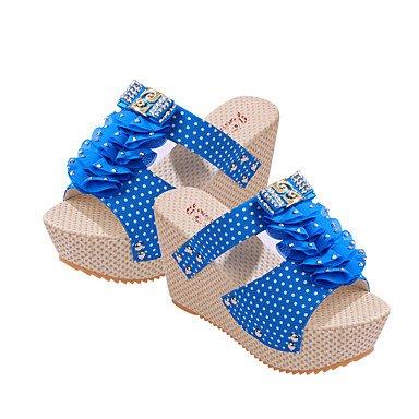 LvYuan Tacón Plano-Confort-Sandalias-Informal-Tejido-Multicolor Blue