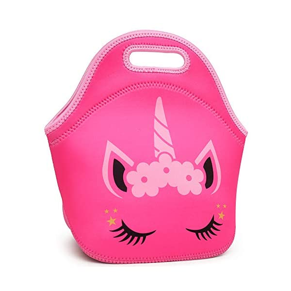 Moonmo Cat Face Unicorn Face Insulated Neoprene Lunch Bag for Women and Kids - Reusable Soft Lunch Tote for Work and School 5