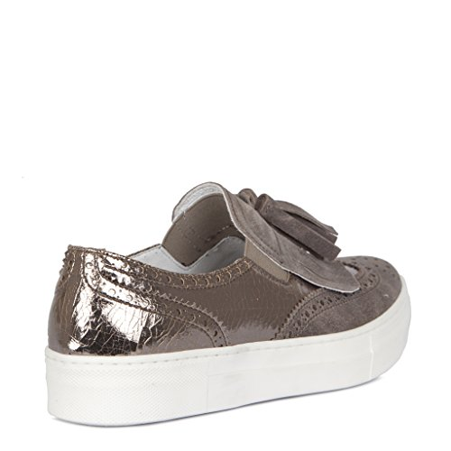 Suede Fringed And Metallic Collection ons Women's Leather Tj Slip Flatform nHxqXYSIw