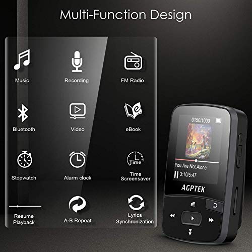 16GB Clip MP3 Player with Bluetooth 4.0, AGPTEK A50S Lossless Sound Music Player with Armband for Sports, Supports FM Radio Voice Recording & 128GB Expanding, Black by AGPTEK (Image #4)