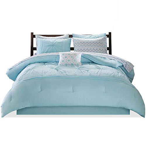 - Intelligent Design Toren Embroidered Comforter and Sheet Set Aqua Full