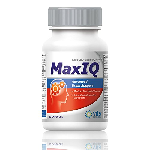 MaxIQ Unlock Your Mental Potential. Brain Function Booster Nootropic. Supports Brain Health, Memory, Focus, Concentration, Energy & Mental Performance by Vita Sciences