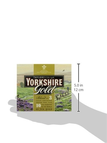 Taylors of Harrogate Yorkshire Gold, 80 Teabags 6 Yorkshire Gold is a high quality blend made from specially selected black teas from the ten finest tea gardens in Asam, Rwanda and Kenya. This tea produces a rich, golden liquor that is full of character and brightness with a brisk, refreshing character. Why does Yorkshire tea taste so good? The simple reason is that we never compromise on quality. We always buy the very best teas for our blends and you can really taste the difference Yorkshire Gold Tea boasts a rich, malty flavor is best enjoyed with milk and sugar to taste