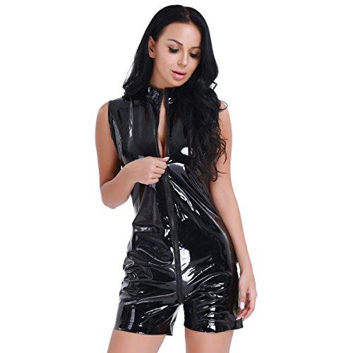YiZYiF Sexy Women's Black Wet Look PVC Leather Catsuit Crotchless Bodysuit Fetish Lingerie XX-Large