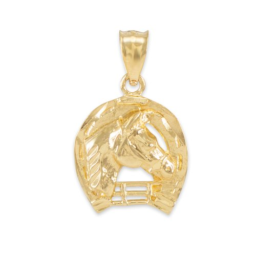 Textured 10k Yellow Gold Good Luck Horseshoe Charm Horse Head Pendant ()