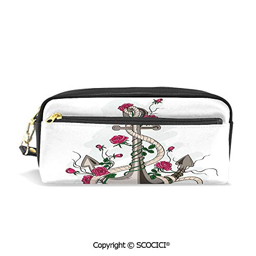 Printed Pencil Case Large Capacity Pen Bag Makeup Bag Hand Drawn Illustration of Sea Anchor Entwined with Flowers and Marine Rope Decorative for School Office Work College -