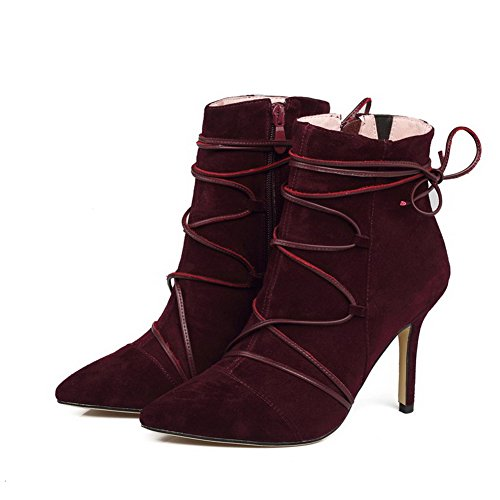 Allhqfashion Mujeres Con Cremallera De Tacones Altos Imitated Gamuza Solid Low-top Botas Claret