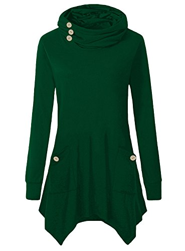 Yibye Long Sleeve Mock Turtleneck, Women's Classy Long Sleeve Classic Button Design Fitted Gym Tops Graceful Basic Knitting Pleated Flows Hem Sweaters With Pockets (Green, (Green Sweater Top)