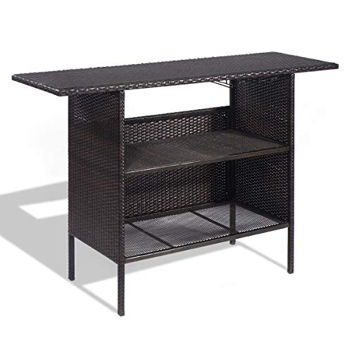 MD Group Outdoor Table, Outdoor Patio Rattan Bar Counter Table