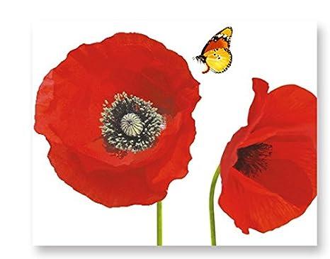 Flores rojas Rama de flores de amapolas Mariposas Césped Tatuajes ...