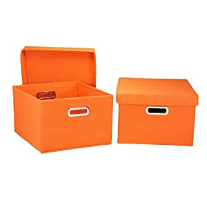 Amazon.com - Household Essentials Fabric Storage Boxes with Lids and Handles - Home Storage Baskets