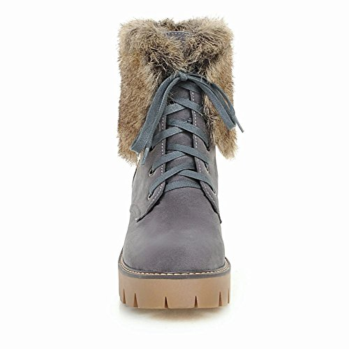 Heels Chunky Ankle Gray Latasa Womens Lace Fur Winter Faux Boots up xY4qpT