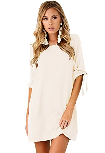 Yidarton Femme Rond Tunique Col Chemise 3 Robe 4 Blouse Manche Longue Mini Blanc Robe aacrqSTUB